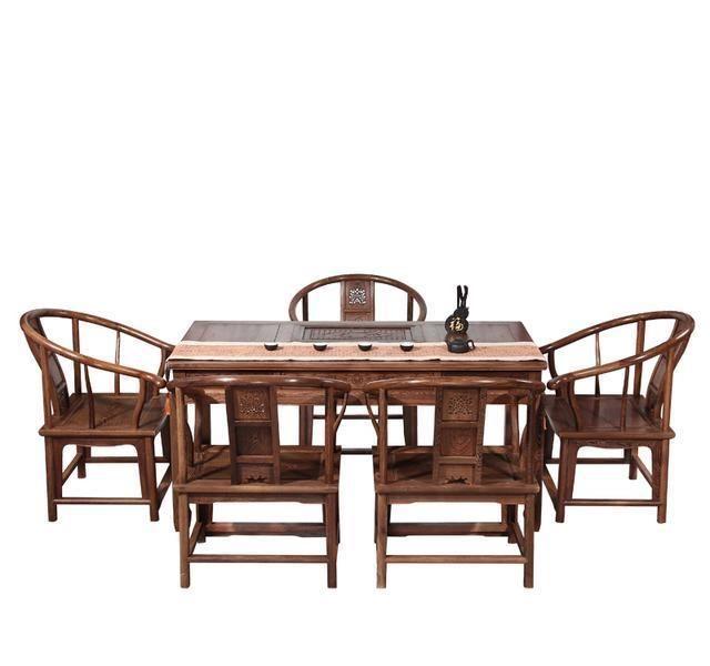古红木实木功夫茶桌雕刻精致理想喝茶的家具